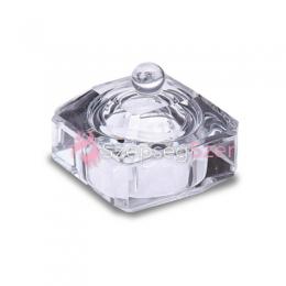 Szögletes üvegtégely, üveg fedővel - Átlátszó